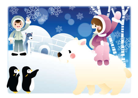 cold climate: girl and boy in cold climate with animals