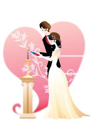 wedding couple: wedding couple lighting candle Illustration