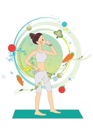 detox: woman drinking detox juice Illustration