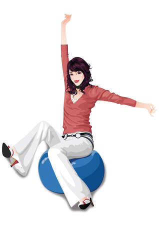 girl working out on a fitness ball