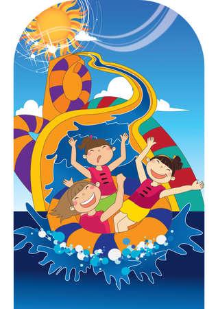 water slide: girls having fun on waterslide Illustration
