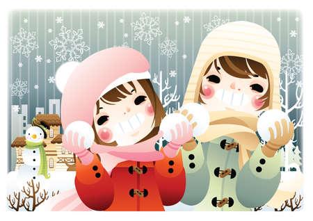palle di neve: bambini che giocano con le palle di neve Vettoriali