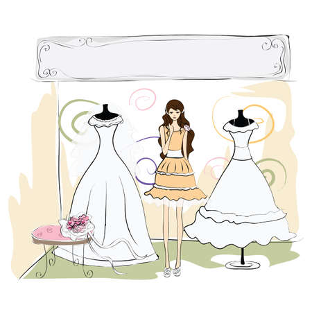 wedding gown: bride confused to select her wedding gown Illustration