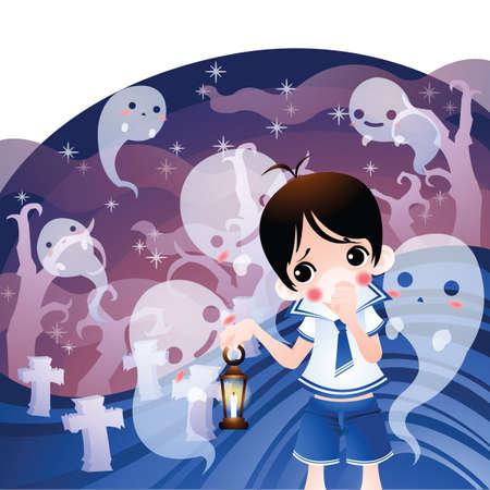 afraid: boy afraid of ghosts Illustration