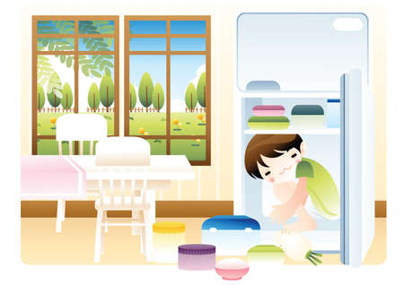 fridge: boy inside a fridge Illustration