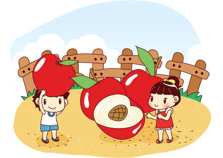 kids with giant apples