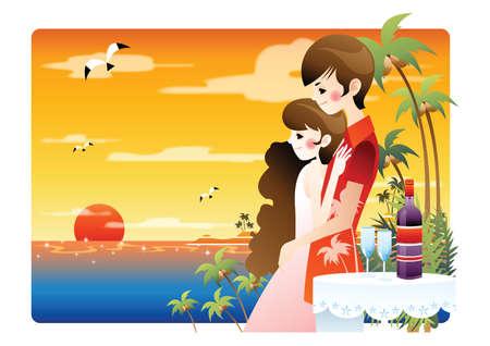shoreline: love couple by the beach