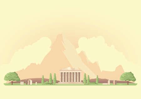 pantheon: pantheon and stonehenge landscape Illustration