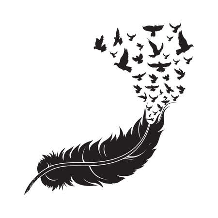 feather with birds 일러스트