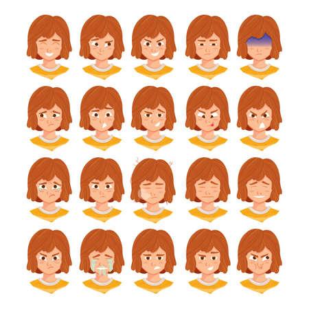 meisje met verschillende gezichtsuitdrukkingen