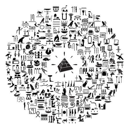 hieroglyphs: pyramid and hieroglyphs