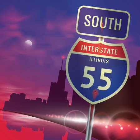 interstate: south illinois interstate 55 sign Illustration