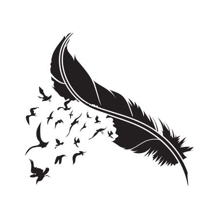 feather with birds Ilustracja