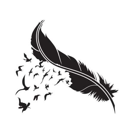 piuma con gli uccelli Vettoriali