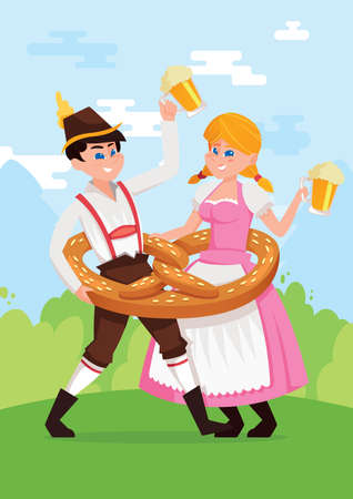 bavarian girl: bavarian girl and boy dancing
