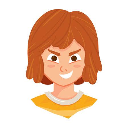smirking: girl grinning Illustration