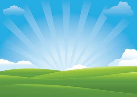 grasslands: landscape of a sunshine over the meadow