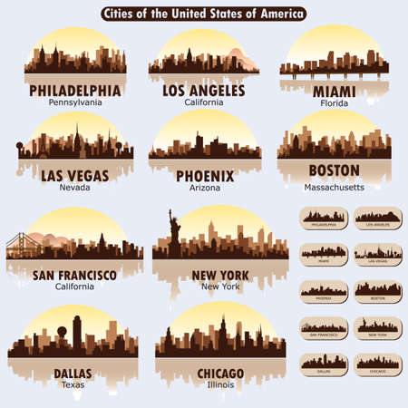 las vegas city: cities of the united states of america Illustration