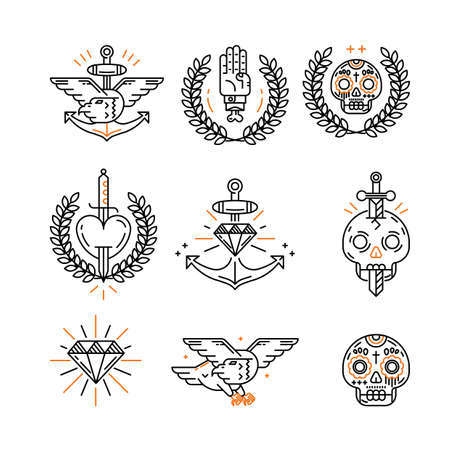 sword and heart: tattoo icon set