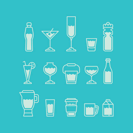fluids: glassware with fluids collection Illustration