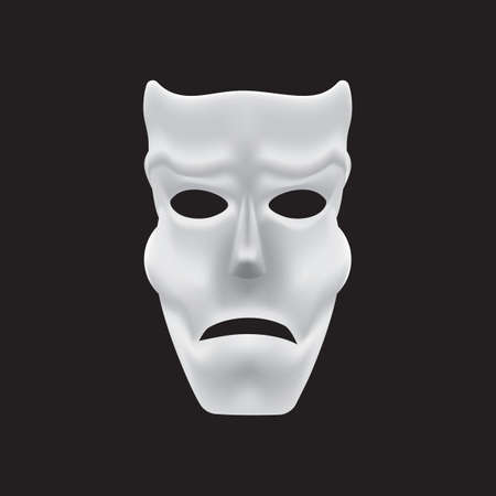 frowning: mask with worried expression Illustration