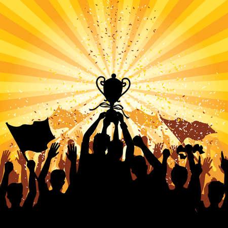 een menigte vieren van een overwinning