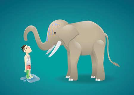splashing water: elephant splashing water on man Illustration