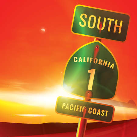 south california route 1 pacific coast sign Illustration