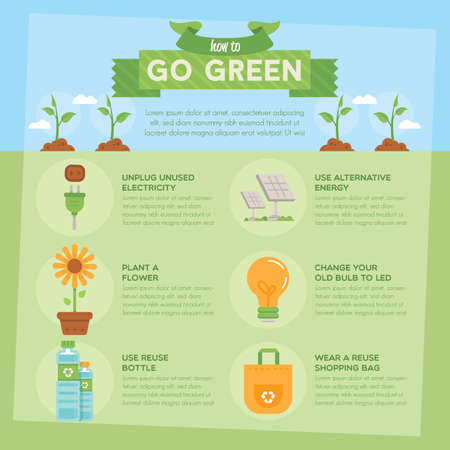 unplug: go green infographic Illustration