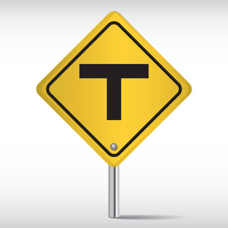roadsigns: t intersection ahead Illustration