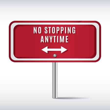 stopping: no stopping anytime sign Illustration