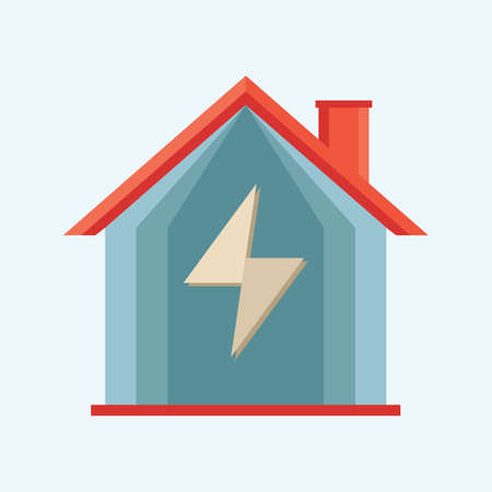 voltage sign: house with voltage sign Illustration