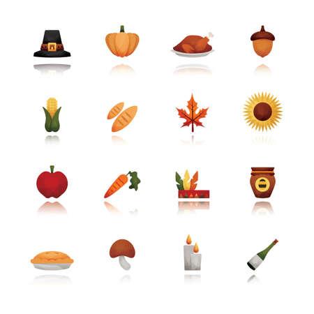 corn flower: set of thanksgiving icons Illustration
