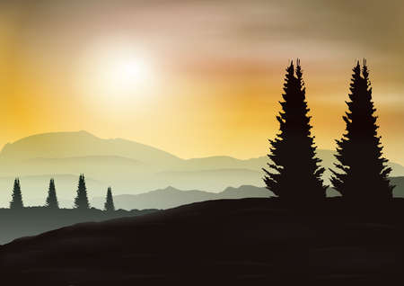 evening: evening mountains and sunset Illustration