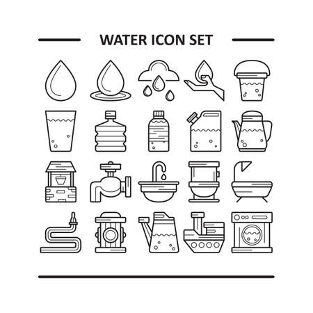 pulley: water icon set Illustration