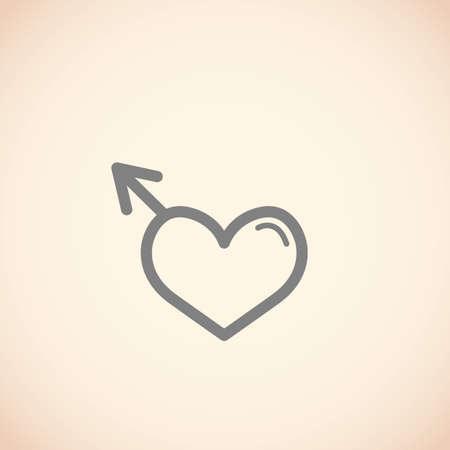 male symbol: heart shaped male gender symbol Illustration