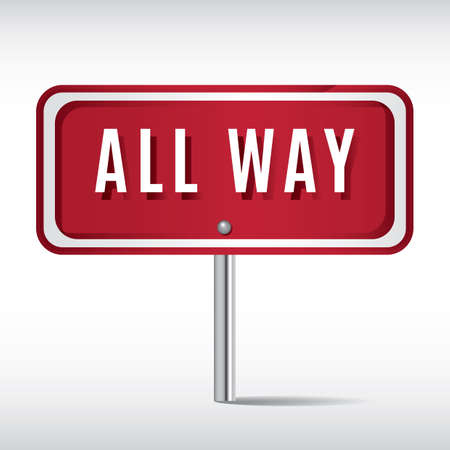roadsigns: all way sign Illustration