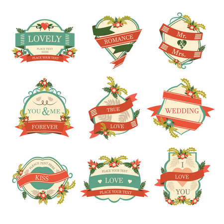 romance: set of love and romance labels