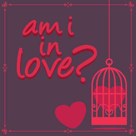 captured: heart captured in cage Illustration