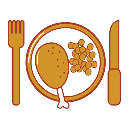 plated: plated turkey leg Illustration