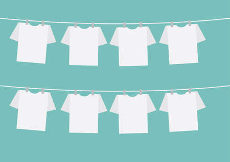 t-shirts on clothes line Illustration