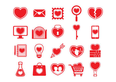 hot couple: set of heart icons Illustration