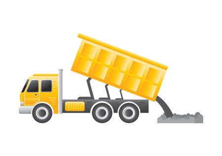 rubbish dump: dump truck