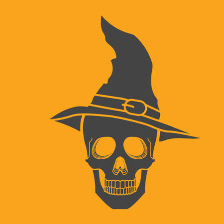 wearing: skull wearing witch hat Illustration