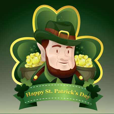 st patricks day card with leprechaun Illustration