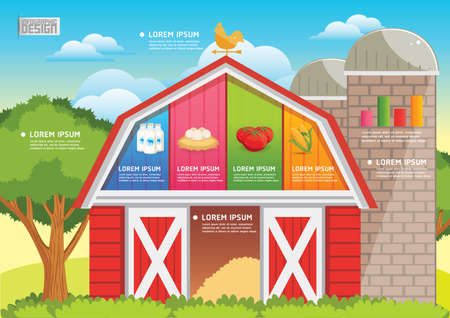 weathervane: farm and agriculture infographic Illustration