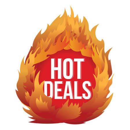 hot deals: hot deals label with fire Illustration