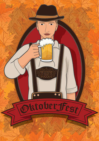 lederhosen: man holding beer glass Illustration