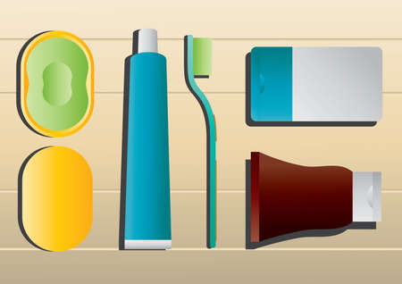 face wash: toothpaste with brush and soap Illustration