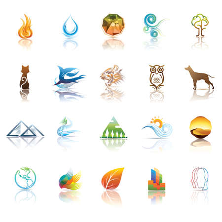 pyramid of the sun: various icon collection Illustration